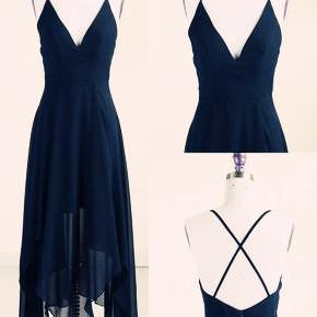 Lovely Simple Navy Blue High Low Homecoming Dresses, Straps Prom Dresses, Lovely Cross Back Formal Dresses