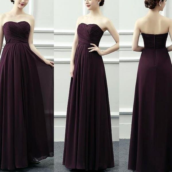 Beautiful Simple Maroon Sweetheart Chiffon Long Party Gowns, Prom Dresses Floor Length, Bridesmaid Dresses for Wedding 2018