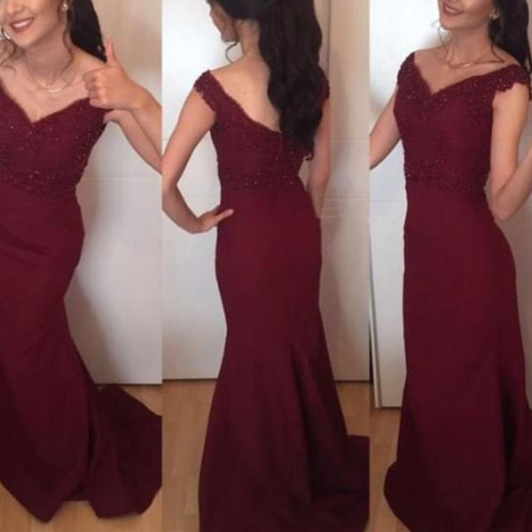 Beautiful Burgundy Prom Dress,Mermaid Prom Dress,Mermaid Evening Gowns, Lace Applique Party Dresses