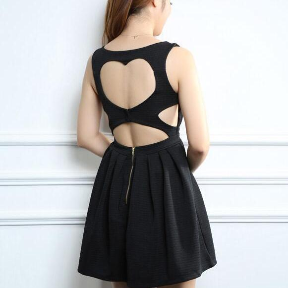 Sexy Black Hollow Dress, Pretty Backless Short Dress, Summer Dresses, Women Little Black Dresses