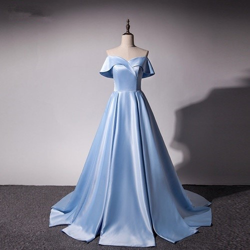 Ice Blue Satin Princess Gowns, Light Blue Prom Dresses 2018, Gorgeous Off Shoulder Party Dresses