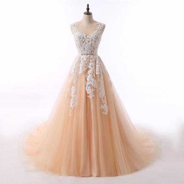 Champagne Tulle Long Ball Gown Party Dress with Lace Applique, Prom Dresses 2018, Formal Gowns