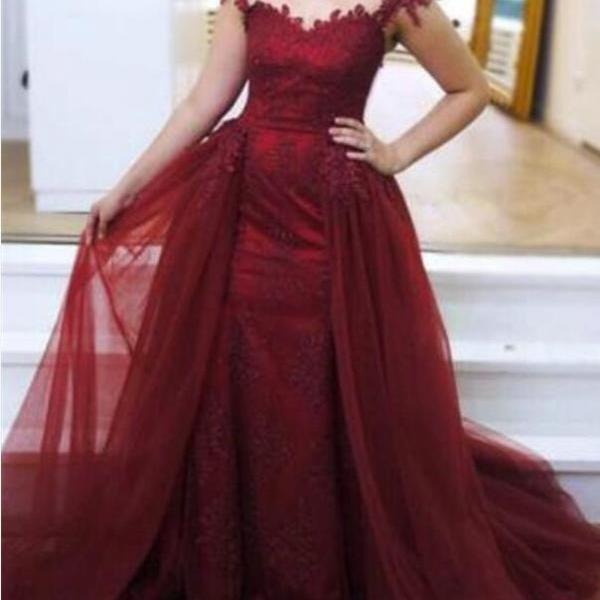 Wine Red Mermaid Party Dress with Applique, Prom Dresses 2018, Women Formal Dresses