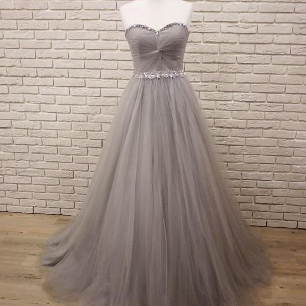 Tulle Grey Charming Sweetheart Beaded Floor Length Gowns, Grey Party Dresses, Prom Dress 2018