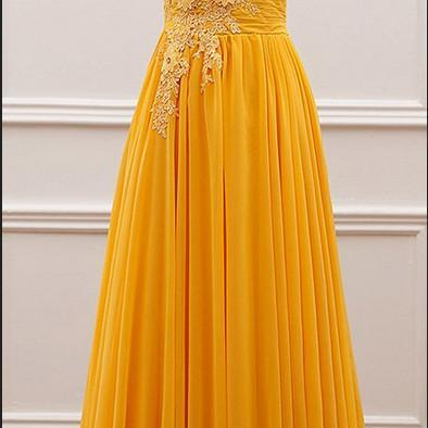 Yellow Off Shoulder Long Chiffon Party Dresses, A-line Prom Dresses, Party Dress with Lace Applique