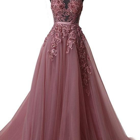 Charming Halter Lace Applique and Tulle Long Prom Dresses, Prom Dresses 2018, Formal Gowns