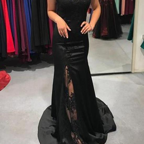 Black Off Shoulder Bridesmaid Dresses,Long Slit Satin Party Dresses, Wedding Party Gowns