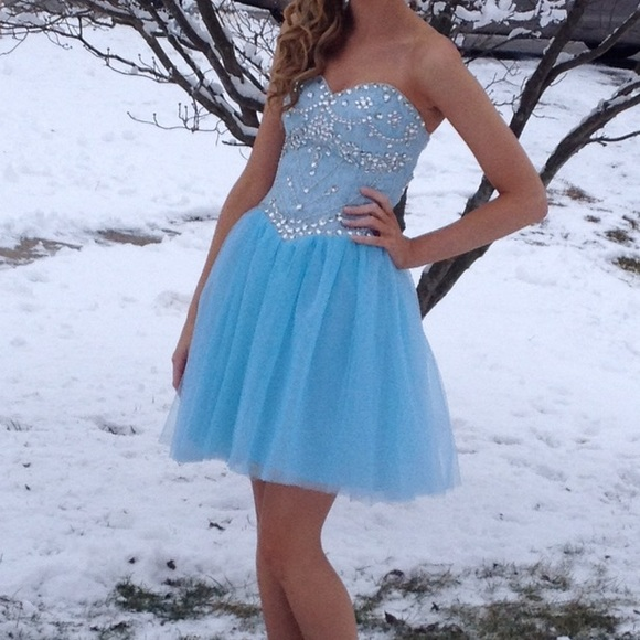 Light Blue Beaded Short Party Dresses, Blue Homecoming Dresses, Blue Prom Dresses