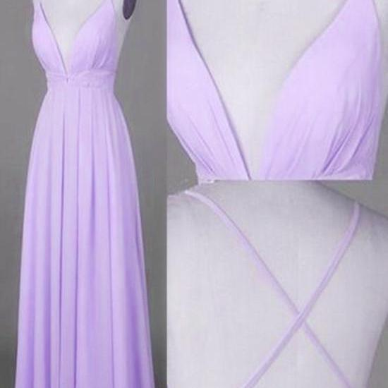 Chiffon Prom Dress 2018, Lavender V--neckline Cross Back Party Dresses, Prom Gowns 2018