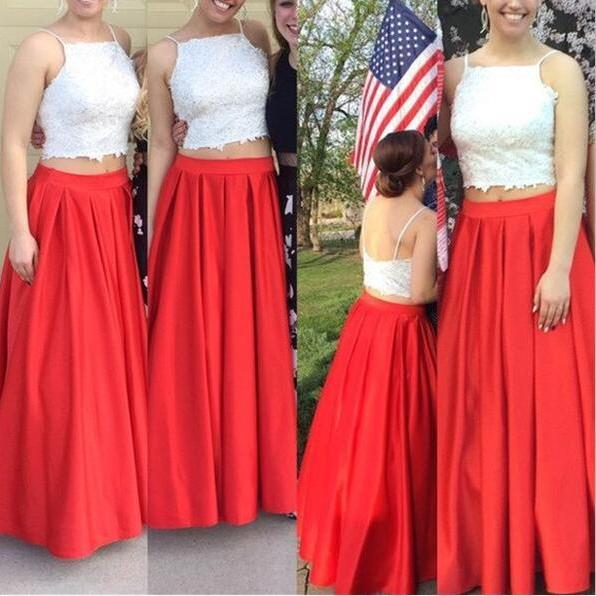 Red and White Two Piece Prom Dresses, = Crop Top Prom Dresses, Two Pieces Prom Gowns, Straps Party Dresses