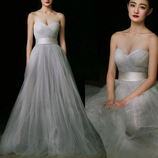 Tulle Sweetheart Long Party Gowns, Formal Gowns, Sliver-Grey Evening Dresses