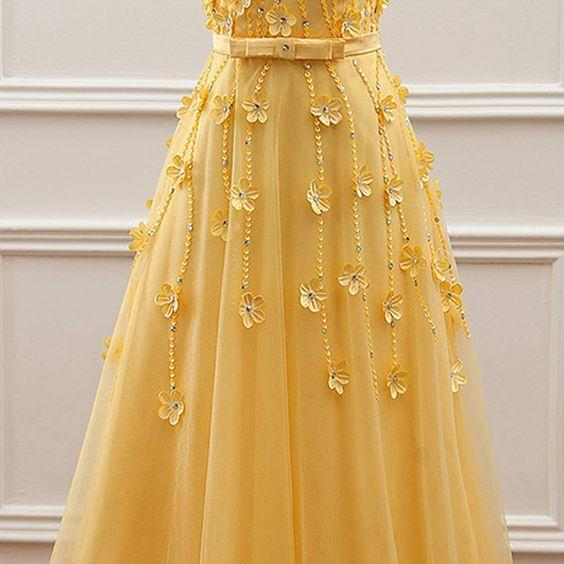 Yellow Floral Tulle Party Gowns, Yellow Junior Prom Dress, Lovely Formal Dress