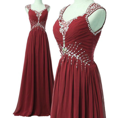 Wine Red Beaded Chiffon Junior Prom Dress, Simple Party Dress, Formal Dress 2018
