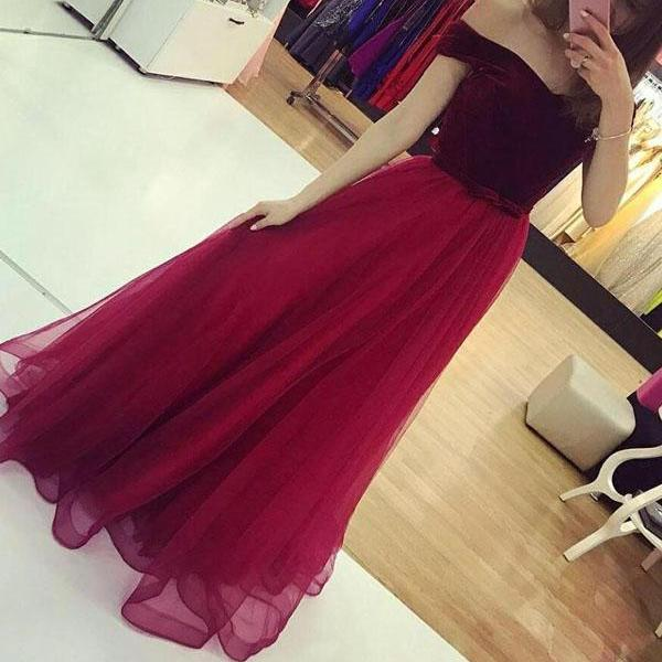 Tulle Skirt Long Formal Dress with Velvet Off Shoulder Party Dress, Prom Gowns, Party Dresses 2018