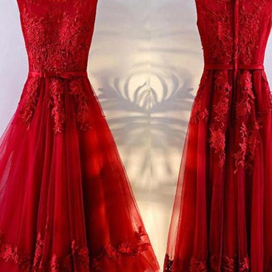 Red Tulle Short Party Dresses, Red Party Gowns, Red Homecoming Dresses