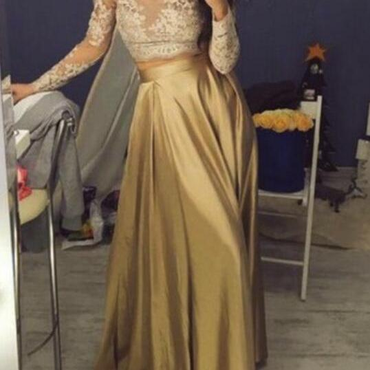 Gold Long Party Dress, Long Sleeves Party Dresses, Formal Dresses 2018