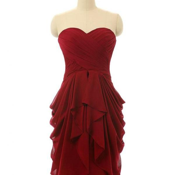 Simple Bridesmaid Dresses, Wine Red Short Chiffon Wedding Party Dress, Charming Formal Dresses