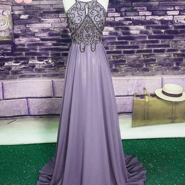 Charming Chiffon Halter Long Beaded Chiffon Prom Dress, Floor Length Party Dress, Backless Party Dresses