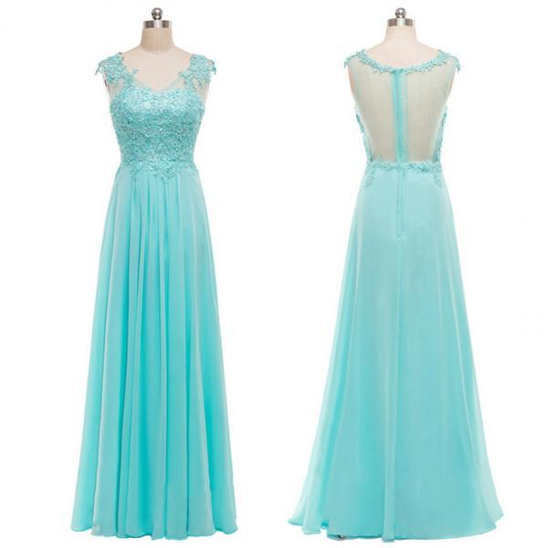 Beautiful Long Lace Appliqué A-line Chiffon Long Prom Dress with Sheer Back, Evening Gowns