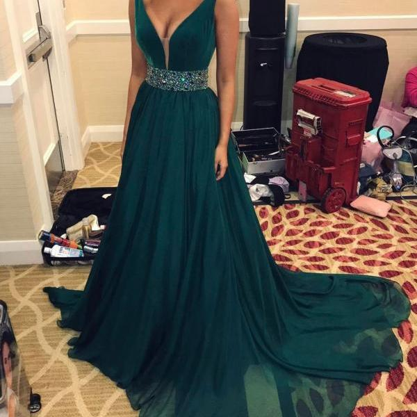 Velvet and Chiffon Prom Dress with Beaded Waistband,Sleeveless Prom Dress,Prom Gowns 2018