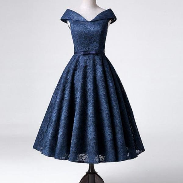 Beautiful Navy Blue Tea Length Lace Bridesmaid Dresses, Charming Party Dresses, Homecoming Dresses