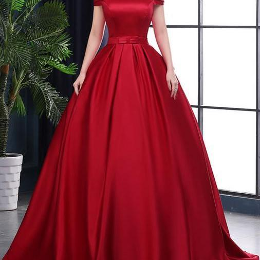 Red Satin Long Ball Gown Party Dress, Red Formal Gowns, Off Shoulder Party Dresses