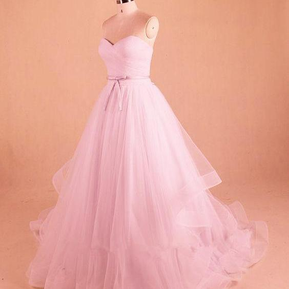 Pink Tulle Princess Ball Gown, Charming Party Dress, Prom Dress 2018
