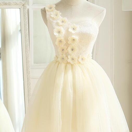 Cute Ivory Tulle One Shoulder Party Dress with Flowers, Cute Formal Dress, Teen Girls Dresses