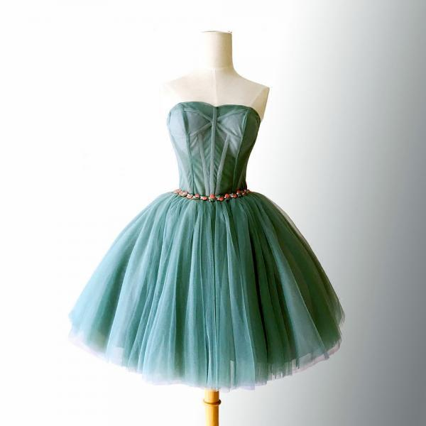 Beautiful Dark Green Tulle Sweetheart Short Homecoming Dress, Hunter Green Formal Dress, Sweetheart Party Dress