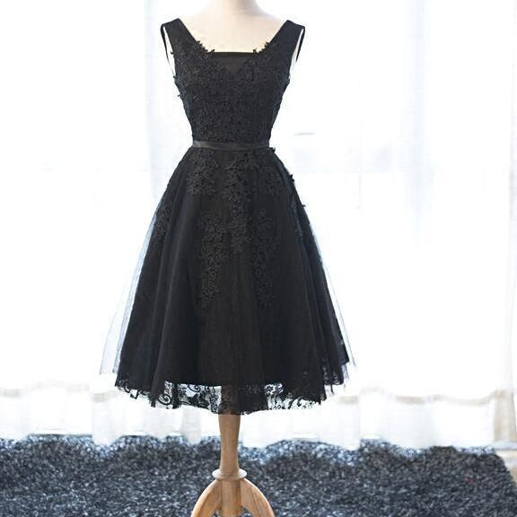 Black Tulle Homecoming Dresses, V-neckline Party Dresses, Short Formal Dress, Black Homecoming Dresses