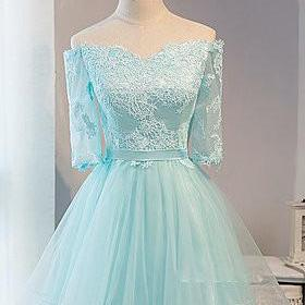 Adorable Mint Blue Off Shoulder Short Homecoming Dresses, Graduation Dress, Short Party Dress