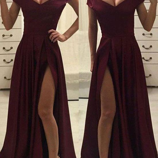 Sexy Off Shoulder Satin Slit Long Party Dress, Sexy Formal Dress, Sexy Party Dressses