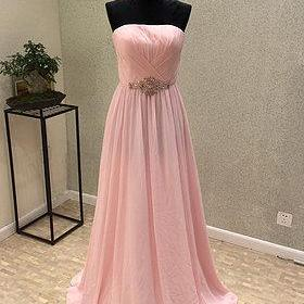 Pink Simple Chiffon Beaded A-line Elegant Prom Dress, Pink Party Dress, Pink Formal Dress 2018