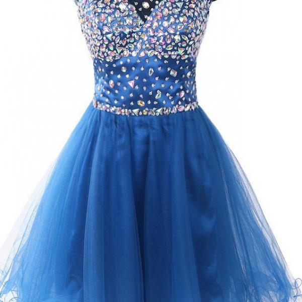 Blue Beaded Homecoming Dress, Tulle Party Dress, Short Prom Dress