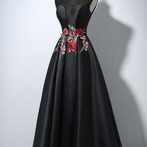 Black Satin Long Formal Dress, Party Dresses, Prom Dress 2019