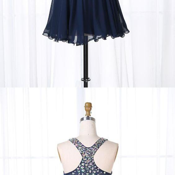 Navy Blue Beaded Homecoming Dresses, Cute Party Dress, Blue Short Prom Dress