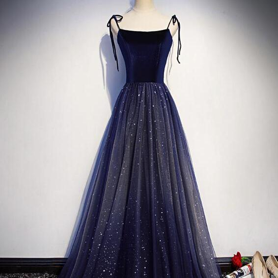 Navy Blue Velvet and Tulle Straps Party Dress 2019, Charming Formal Gown