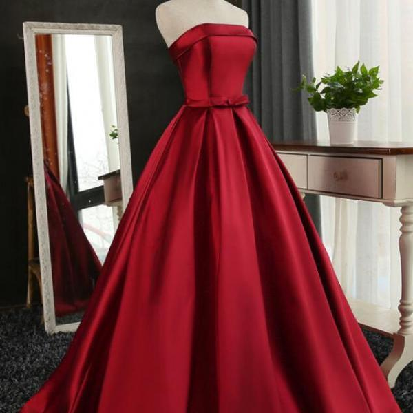 Dark Red Satin Long Prom Dress 2019, Red Formal Gowns for Party