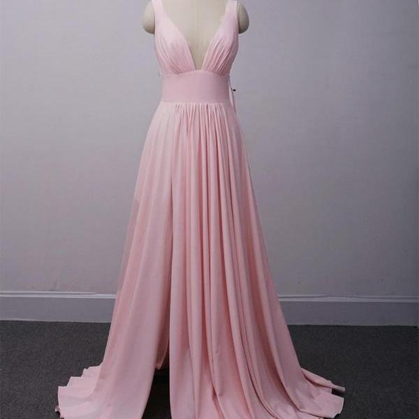 Pink V-neckline Slit Bridesmaid Dress, Long Beautiful Party Dresses 2019