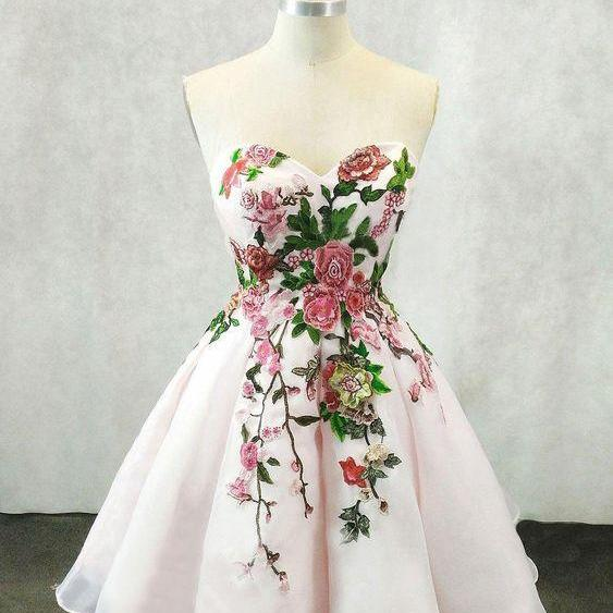 Light Pink Organza Floral Sweetheart Party Dress, Short Homecoming Dresses 2019