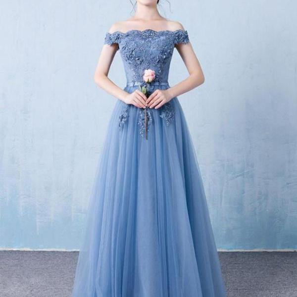 Blue Tulle Elegant Off Shoulder A-line Long Party Dress 2019, Charming Formal Gowns 2019