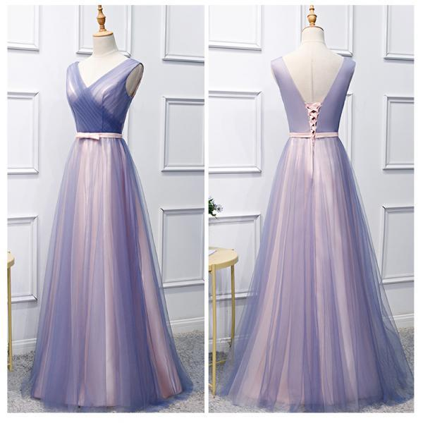Beautiful V-neckline Tulle Floor Length Prom Dress 2019, Long Party Dresses for Weddings