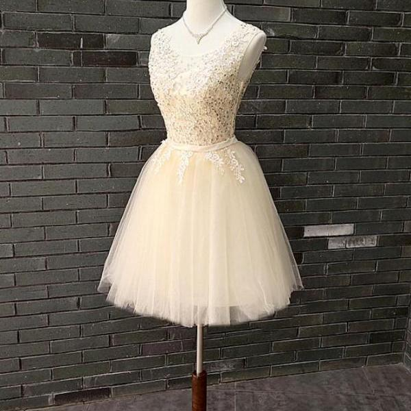 Champagne Tulle Applique with Beaded Cute Party Dress 2019, Lovely Formal Dresses