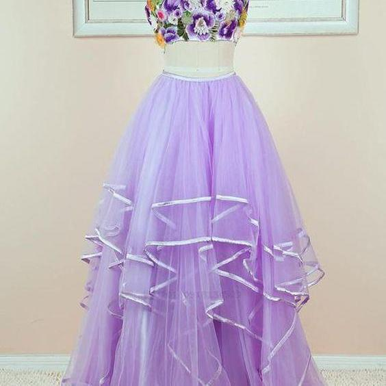 Floral and Tulle Two Piece Lavender Prom Dress 2019, Lovely Party Dresses 2019