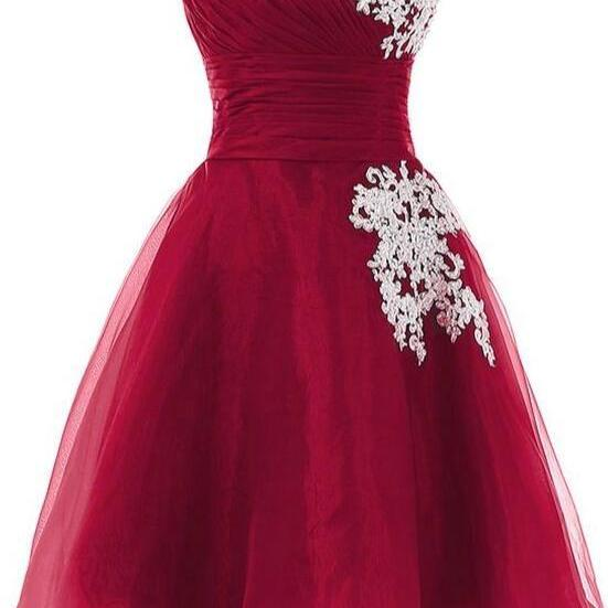 Adorable Wine Red Organza Short Party Dress, Cute Formal Dresses 2019