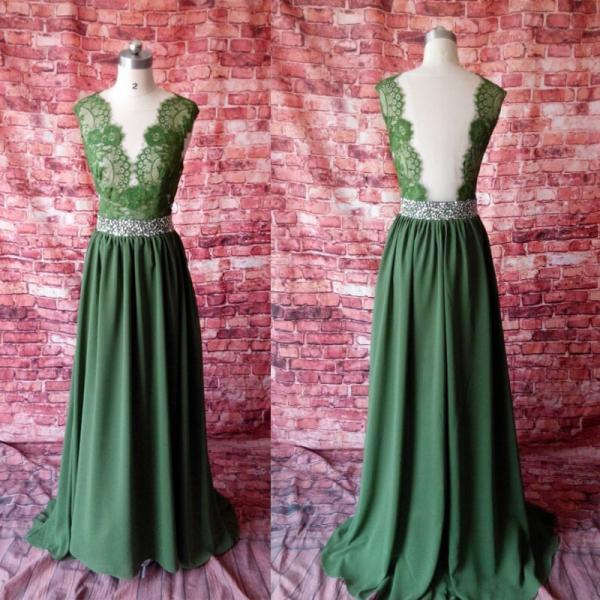 Beautiful Green Chiffon Long Prom Dress with Lace Top, Sexy Party Gown
