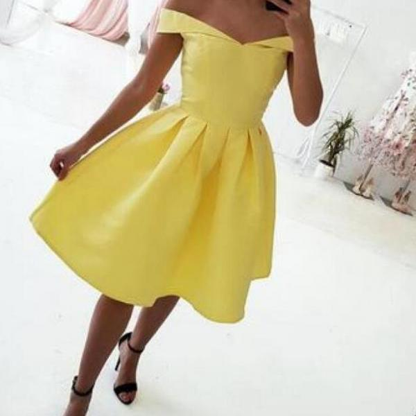 Yellow Simple Off the Shoulder Short Homecoming Dress, Simple Party Dress