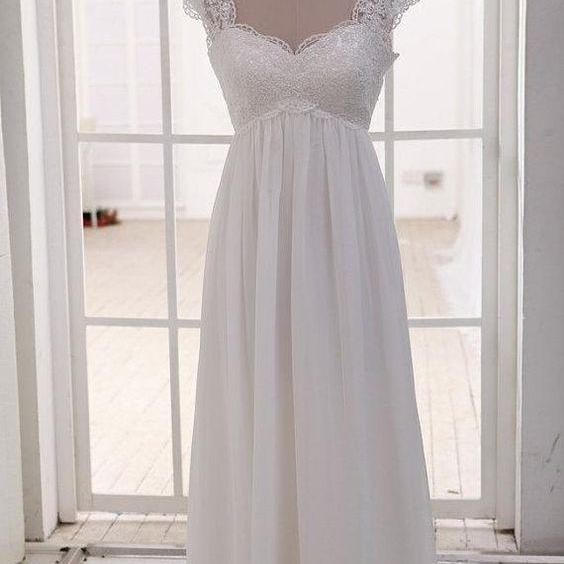 Simple High Waist Cap Sleeves Lace and Chiffon Long Party Dress, Beach Wedding Dress