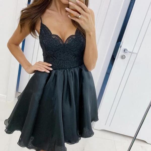 Lovely Straps Short Black V-neckline Party Dress, Black Prom Dress 2020