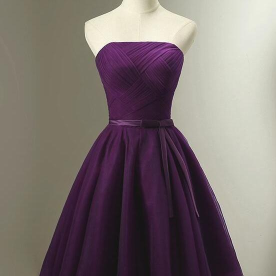 Lovely Dark Purple Short Bridesmaid Dress, Cute Tulle Short Prom Dress